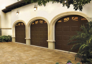 steel insulated three layer Brown With Decorative windows 9x7 garage doors installed Alpharetta