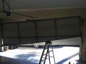 crashed garage door