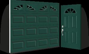 Entry Door Installation That Compliments Hunter Green Short Panel Standard Steel Garage Door With Sunburst inserts by Clopay