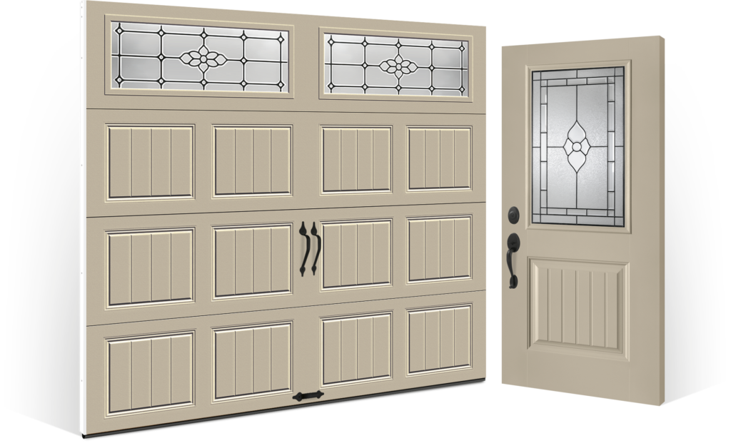 Entry Door Installation That Compliments Steel Garage Door Gallery Flat Color Desert Tan With WIndows By Clopay