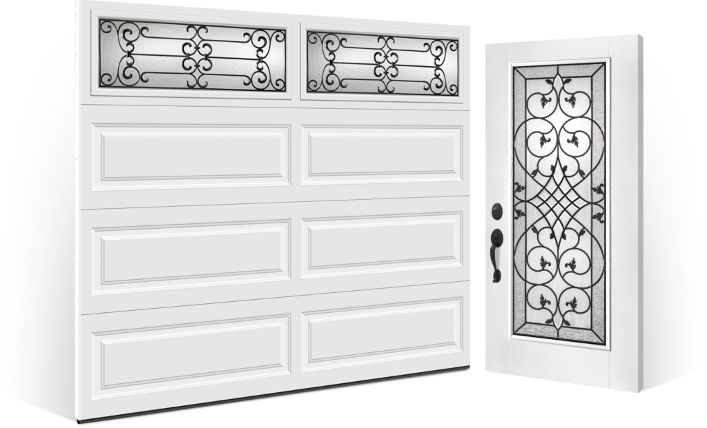garage door and complimenting entry door installation Smooth Fiberglass entry door