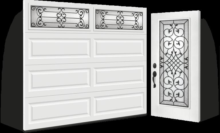 garage door and complimenting entry door installation Smooth Fiberglass entry door