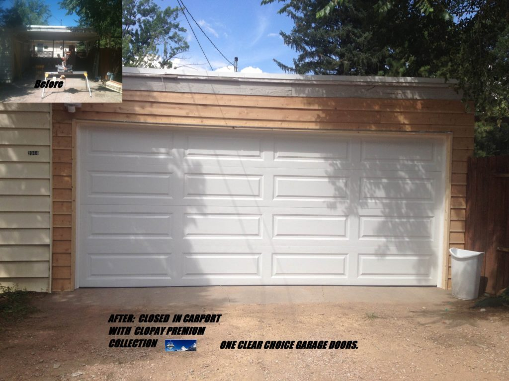 carport conversion and garage door installation