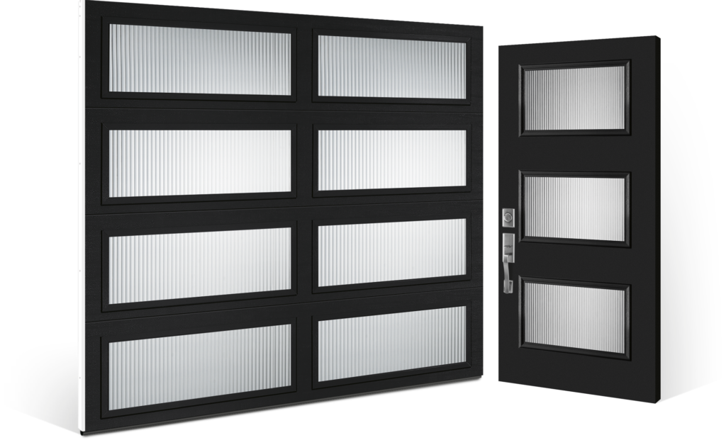 modern collection garage door complimenting Entry door