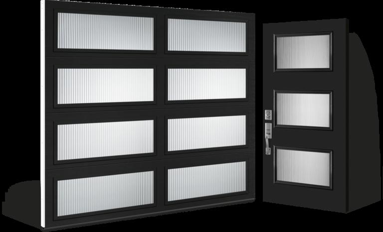 modern collection garage door complimenting Entry door