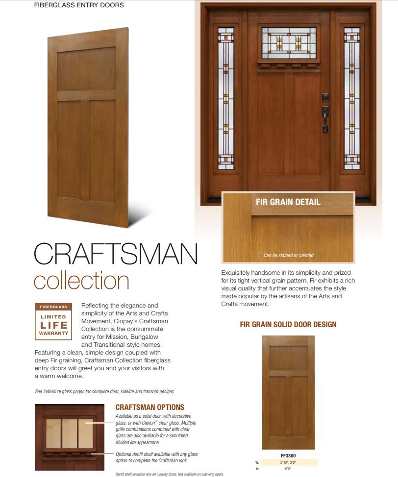 Clopay Fiberglass Entry Door Craftsman Collection One