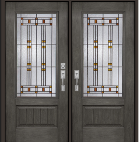 French double doors Fiberglass Rustic with Cimmaron Windows