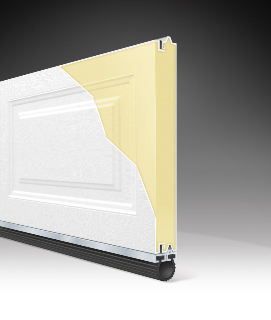 R value 12.9 three layer steel garage door clopay
