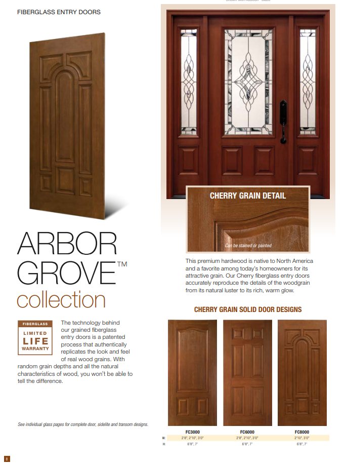 Clopay Fiberglass Entry Door Arbor Grove One Clear