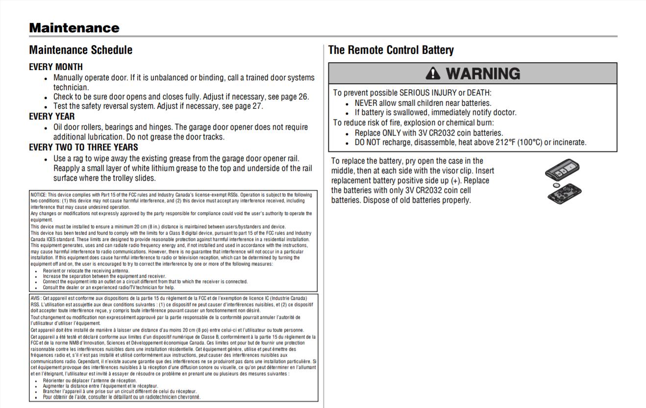 garage door opener maintenace Schedule LiftMaster Owners Manual