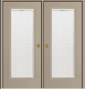 smooth fiberglass patio door with blinds