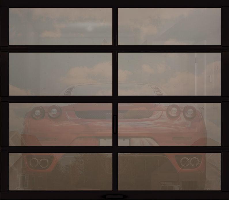 full view garage door bronze tinted glass