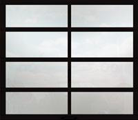 full view garage door white laminate glass