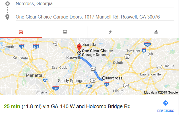 Norcross garage door showroom directions