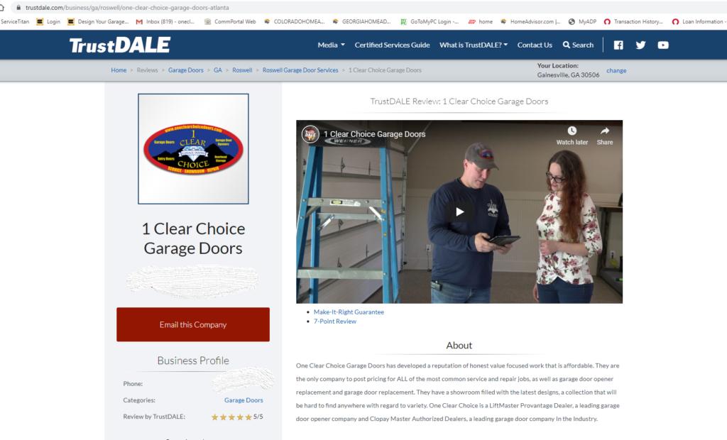 trust dale garage door company