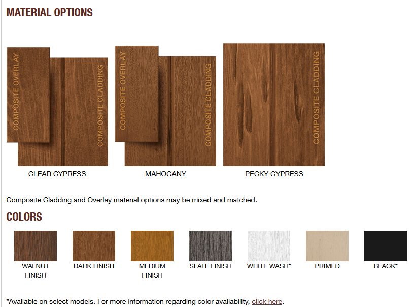 CANYON RIDGE LIMITED EDITION GARAGE DOOR DESIGNS 5 MATERIALS AND COLORS