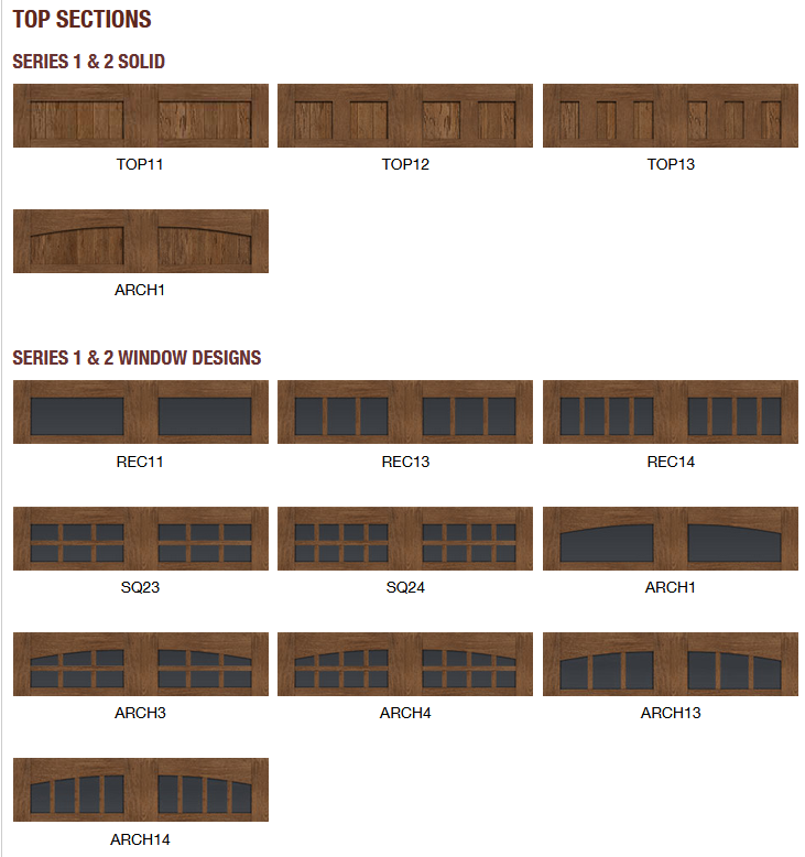 CANYON RIDGE LIMITED EDITION GARAGE DOOR DESIGNS3TOP SECTION