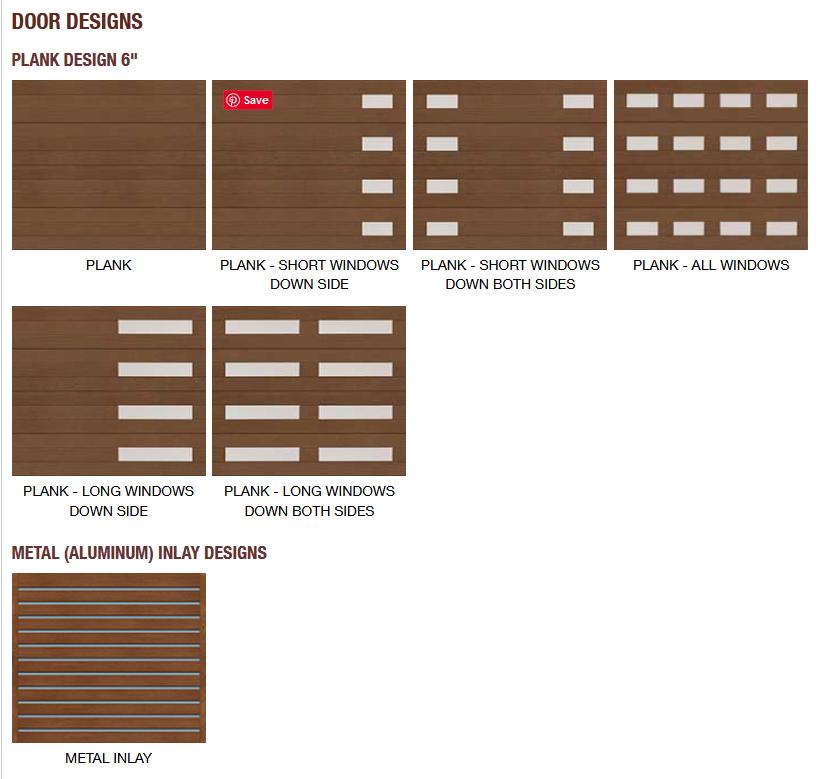 CANYON RIDGE MODERN COLLECTION GARAGE DOOR PANEL DESIGN OPTIONS