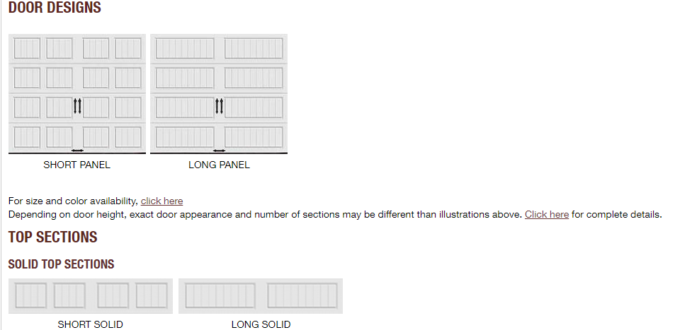 GALLERY GARAGE DOOR PANEL DESIGN OPTIONS