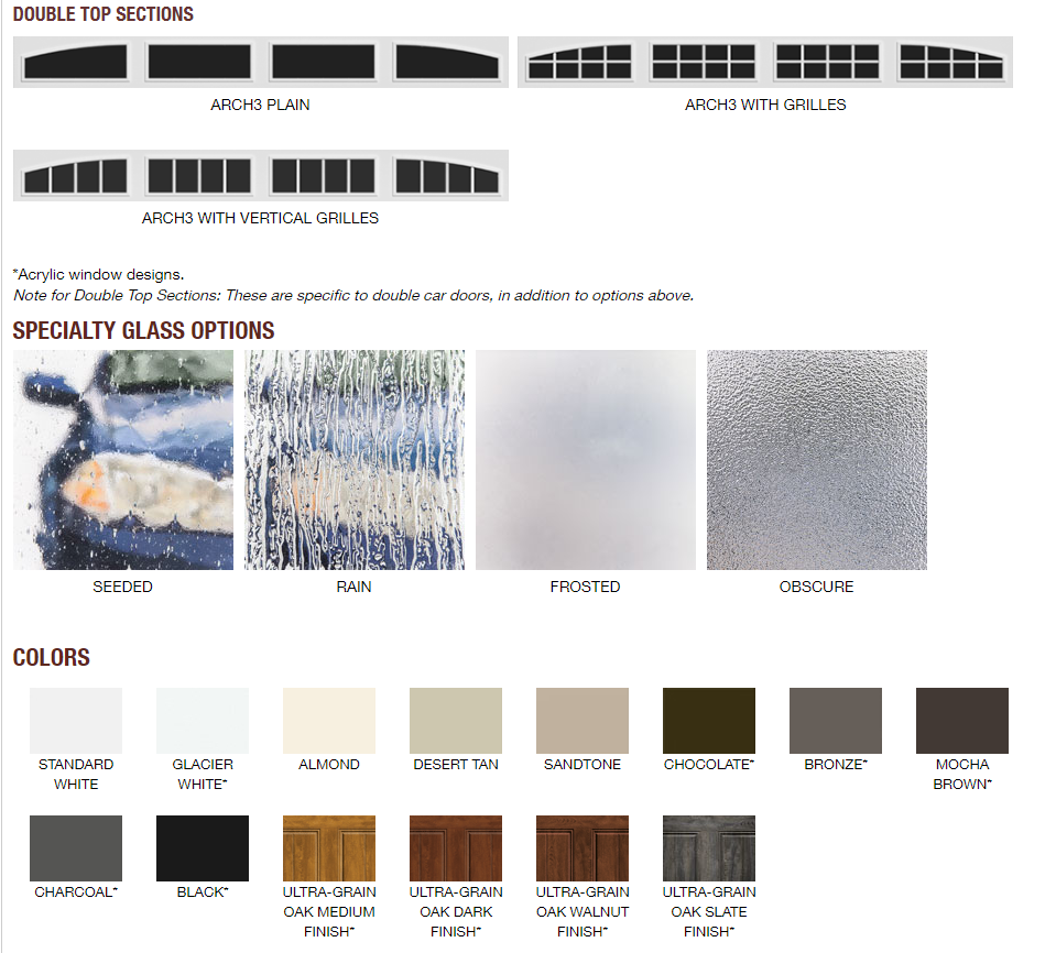 GALLERY GARAGE DOOR GLASS AND COLOR OPTIONS