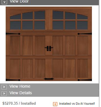 semi custom wood garage door pricing home depot