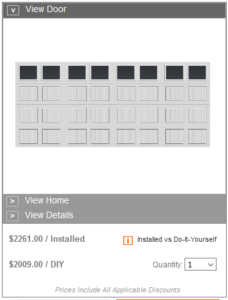 home depot garage door installed pricing