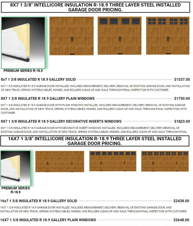 GARAGE DOOR PRICING GEORGIA R 18 .8X7 GALLERY GARAGE DOOR INSTALLED PRICING