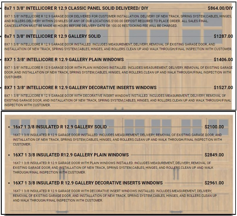 PREMIUM SERIES R 12.9 GALLERY 16X AND 8X GARAGE DOOR PRICES