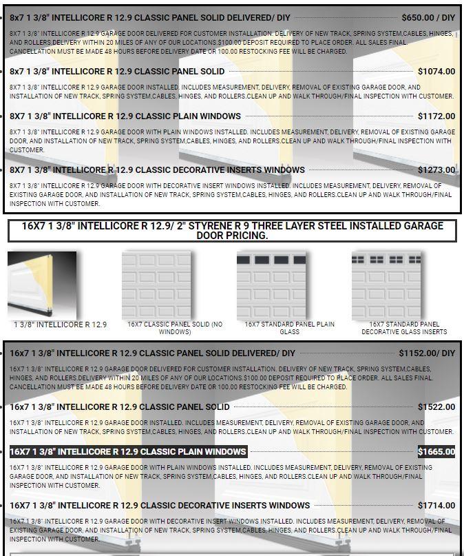 Premium Plus Series Three Layer Steel Garage Door Pricing R9 AND R12