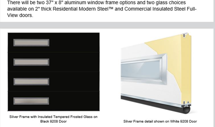 "modern collection contemporary slim window garage door silver frame with 37""x8"" glass"