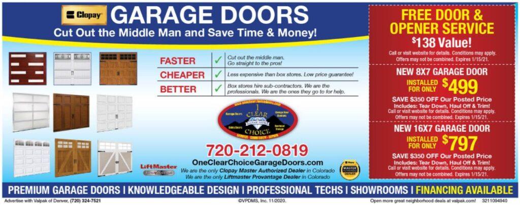 VALPAC GARAGE DOOR DISCOUNTS DETAILS