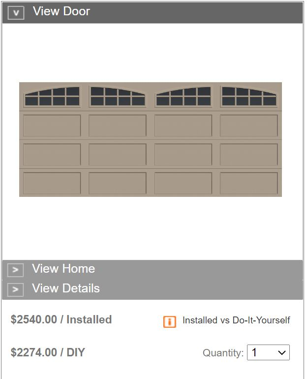 16X7 BRIDGEPORT PUBLISHED PRICING ONE CLEAR CHOICE GARAGE DOORS DECORATIVE WINDOWS